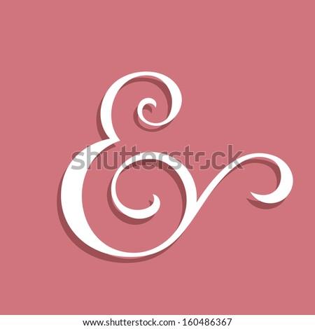 Wedding text decoration ampersand. Custom ampersand on pink. Vector illustration - stock vector