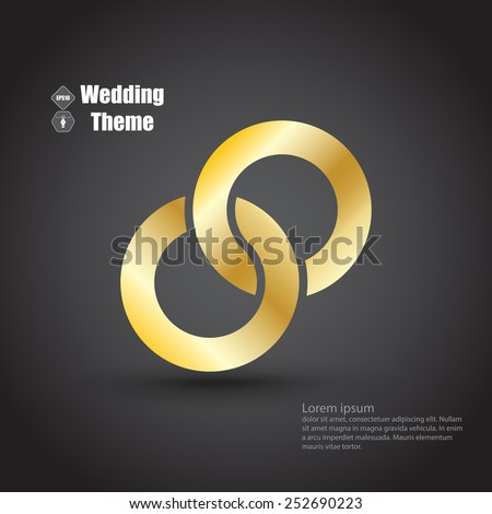 Wedding theme with two intertwined rings. Dark color template - stock vector