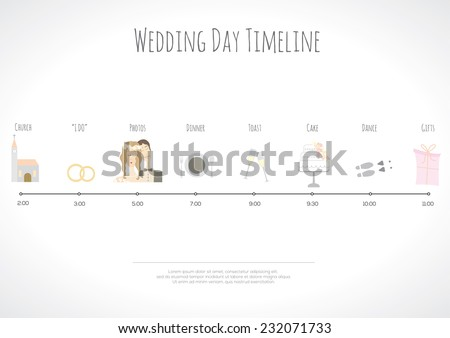 Wedding timeline infographic. Vector illustration - stock vector