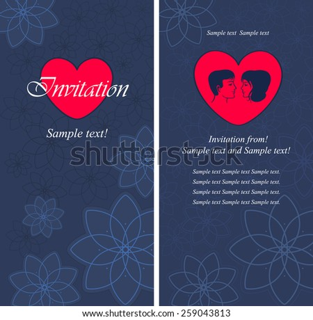Wedding. Vector festive wedding invitation card on a blue background with flowers - stock vector