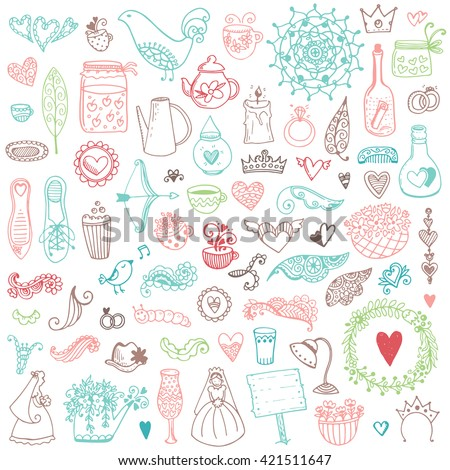 Wedding vintage elements big collection. Romantic hand drawn floral set with different elements. Romantic vector elements for card.  - stock vector