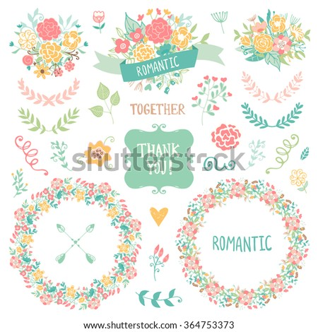 Wedding vintage elements collection. Romantic hand drawn floral set with frames, flowers, leaves and ribbons. Romantic vector elements for card. Wedding and romantic theme. - stock vector