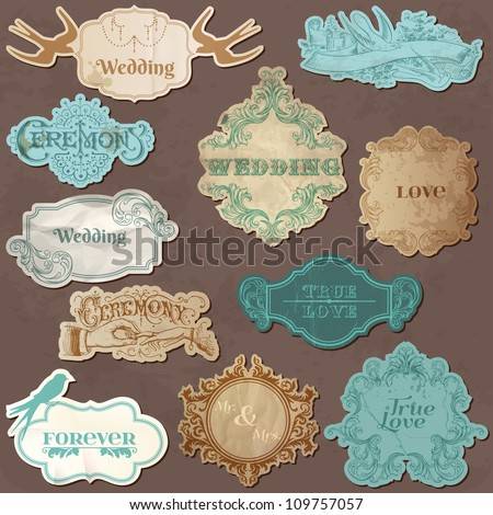 Wedding Vintage Frames and Design Elements - in vector - stock vector