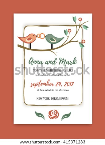 wedding vintage invitation in retro design with the birds and rings. vector illustration with wedding rings. Save the date vector. Template wedding invitation card. - stock vector