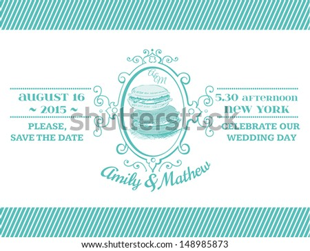 Wedding Vintage Invitation - Macaroon Theme - for design, scrapbook - in vector - stock vector