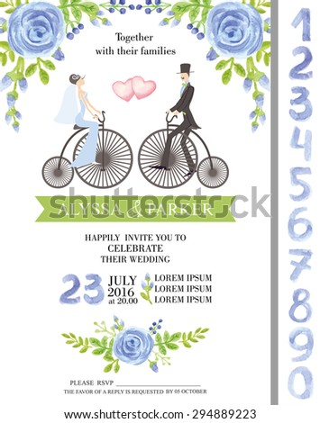 Wedding  watercolor invitation cards with flowers elements ,couple bride,groom on retro bike,numbers letters. Cute retro collection with blue roses bouquet, green branches.Vector Illustration - stock vector