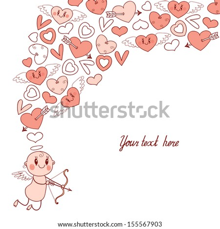 Weddings and Valentine's Day card with cute Cupids and hearts. Vector illustration. - stock vector