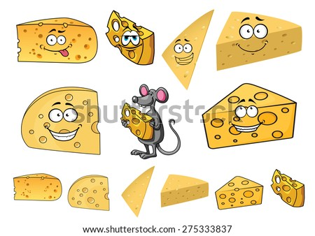 Wedges of happy cartoon cheese with smiling faces with a cute little a mouse in the center and second variations with no faces - stock vector