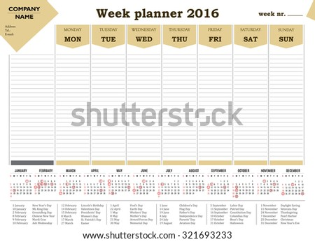 Week planner 2016 calendar for companies and private use. - holidays and events posted inside - stock vector