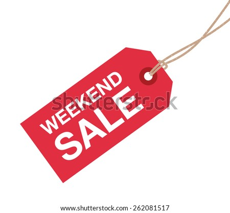 weekend red sale sign - stock vector