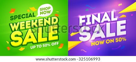 Weekend sale and final sale banner. Vector illustration - stock vector