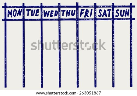 Weekly calendar. Doodle style - stock vector
