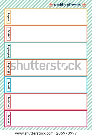 Weekly planner colorful frame with white green pastel stripe pattern background - stock vector