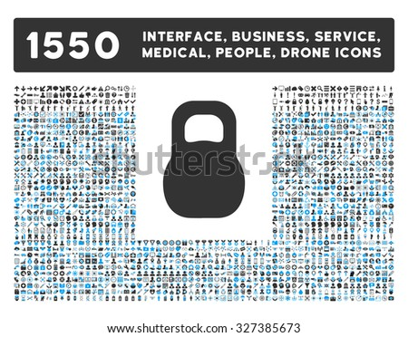 Weight icon and other web interface, business, tools, people, medical service and awards vector symbols. Style is bicolor flat symbols, blue and gray colors, rounded angles, white background. - stock vector