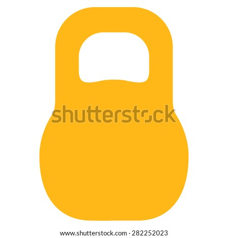 Weight icon from Basic Plain Icon Set. Style: flat vector image, yellow color, rounded angles, white background. - stock vector