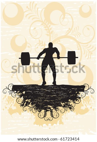 Weight-lifter in floral background (part of full set) - stock vector