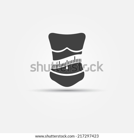 Weight loss icon - woman with measuring tape fitness logo or symbol - stock vector
