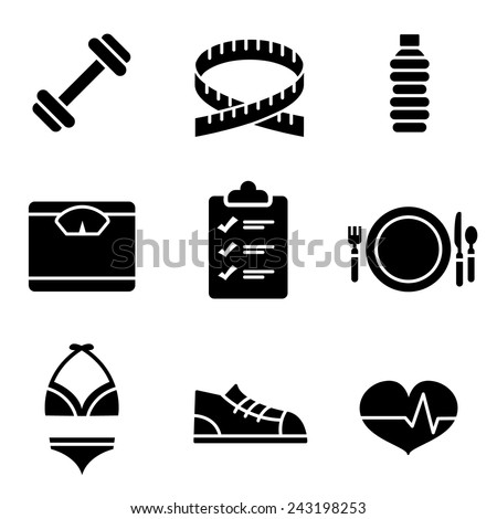 Weight Loss Icons - Black - stock vector