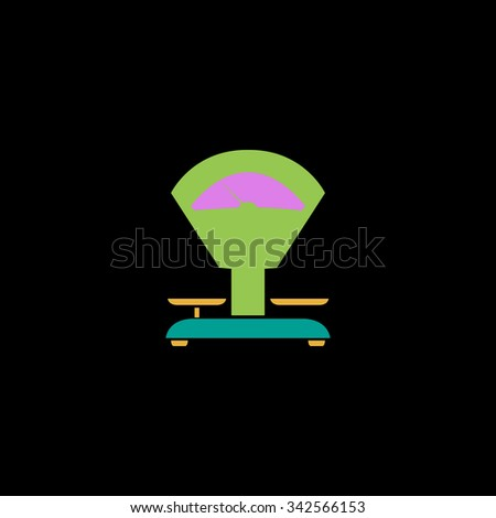 Weight Scale. Color vector icon on black background - stock vector