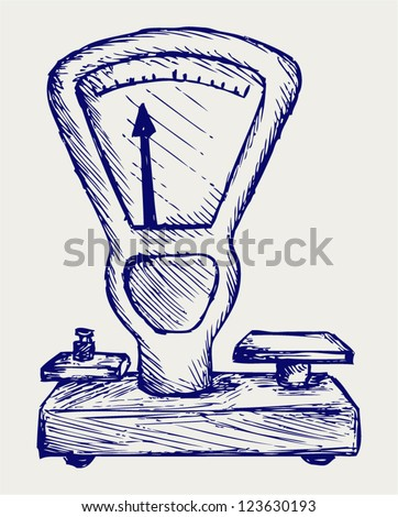 Weight scale. Doodle style - stock vector