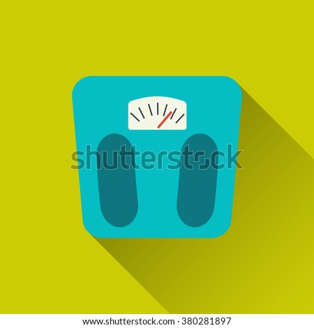 Weight scale, floor scales- sport icon.Concept of active lifestyle, victory, achievement, goal. Flat design with long shadow. Vector illustration for your design, projects, websites or applications - stock vector