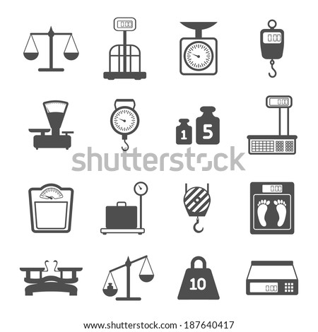 Weight scales for trade pharmacy shopping measurement isolated vector illustration - stock vector