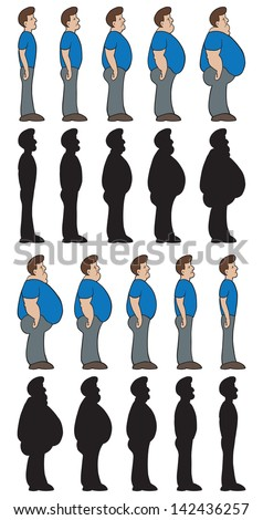 Weight stages. Man shown going from thin to chubby and chubby to thin. Also in silhouette. - stock vector