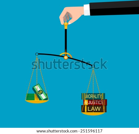 Weighting scale inclined to the side of morality and law. vector eps 10  - stock vector