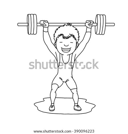 Weightlifter, weightlifting. Sport competition. Athletic vector illustration. - stock vector
