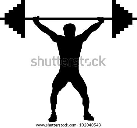weightlifting silhouette - stock vector