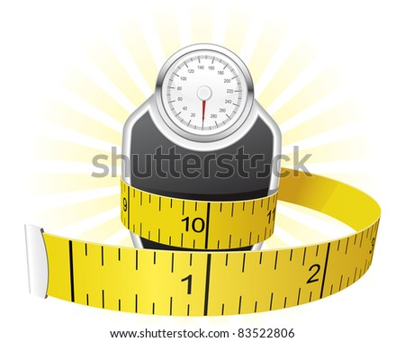 Weights and tape measure - stock vector