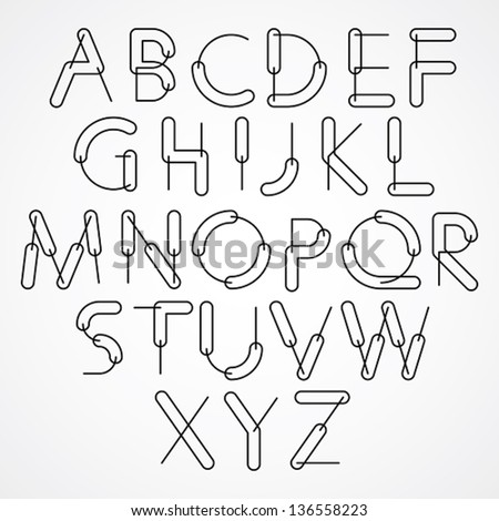 Weird constructor font, vector alphabet letters, black and white version. - stock vector
