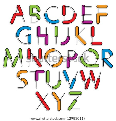 Weird constructor font, vector alphabet letters, color version. - stock vector