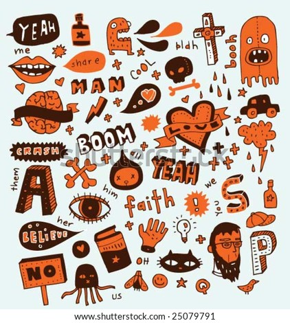 Weird doodles. Click on my name below for a huge collection of doodles. - stock vector