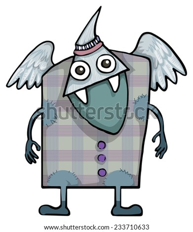 Weird friendly alien, monster creature, vector illustration, isolated on white - stock vector