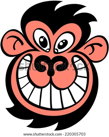 Weird furry black head of a monkey grinning mischievously - stock vector
