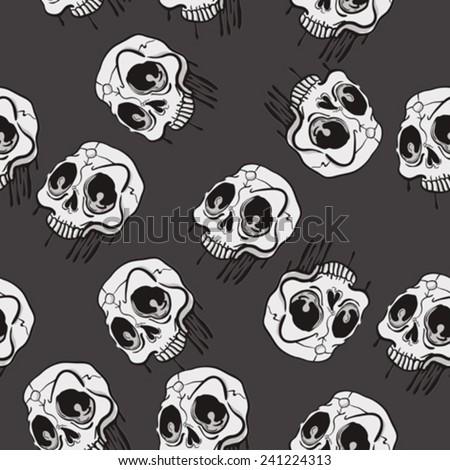 weird looking skull seamless pattern cartoon illustration - stock vector