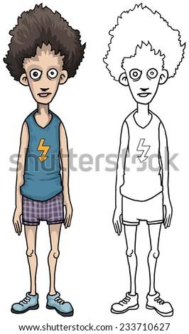 weird paranoid male character, vector illustration - stock vector