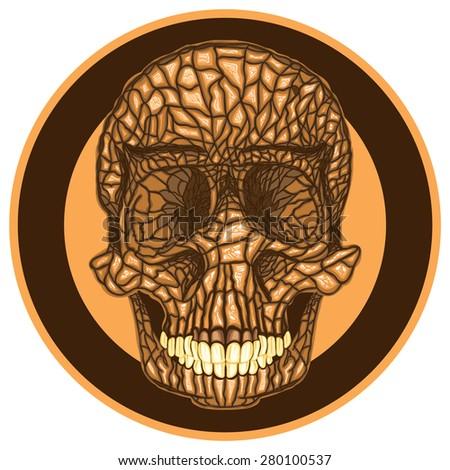 Weird textured skull - stock vector
