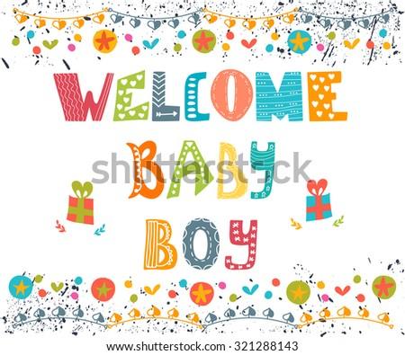 Welcome baby boy. Baby boy arrival postcard. Baby boy shower card. Vector illustration - stock vector