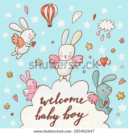 Welcome baby boy - concept card. Fantastic childish background made of cartoon signs: lovely rabbits, hearts, stars, clouds and air balloon in the sky. Sweet congratulation card in vector - stock vector
