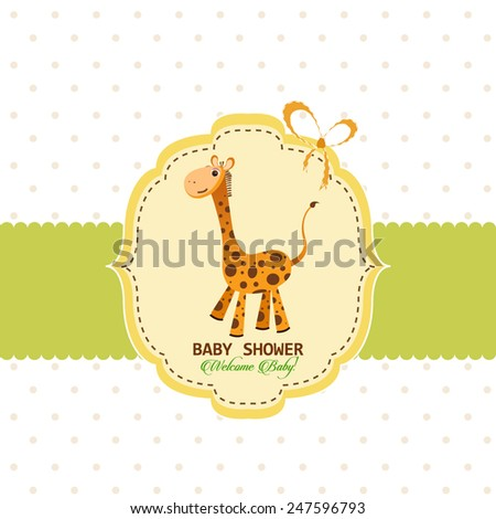 Welcome baby greeting card template with giraffe - stock vector