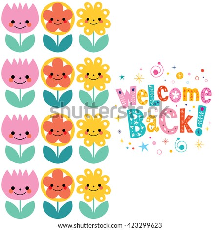 welcome back card - stock vector