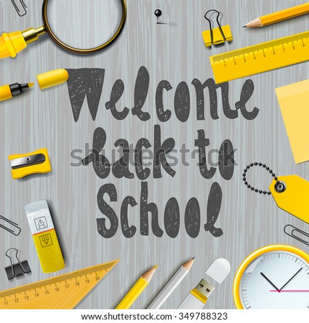 Welcome back to school background, vector illustration for greeting card, ad, promotion, poster, flier, blog, article, social media. - stock vector