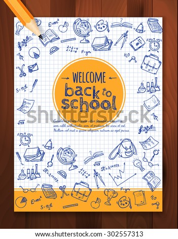 Welcome back to school background, with hand drawn doodle elements and realistic pencil.  Vector template for flyer or poster, brochure design.  - stock vector