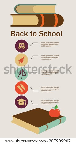 welcome back to school, education set. infographics - stock vector