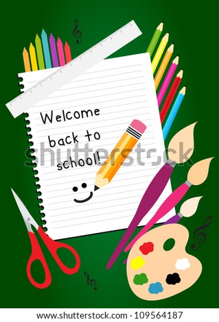 Welcome back to school greeting card with colorful pencils, brushes, and ruler - stock vector