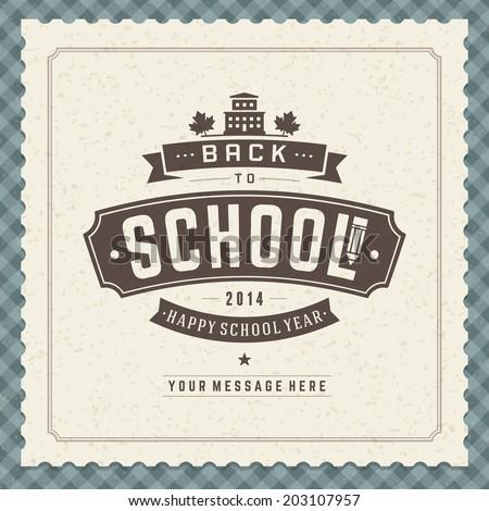 Welcome Back to school message vector background. Typographic design.  - stock vector