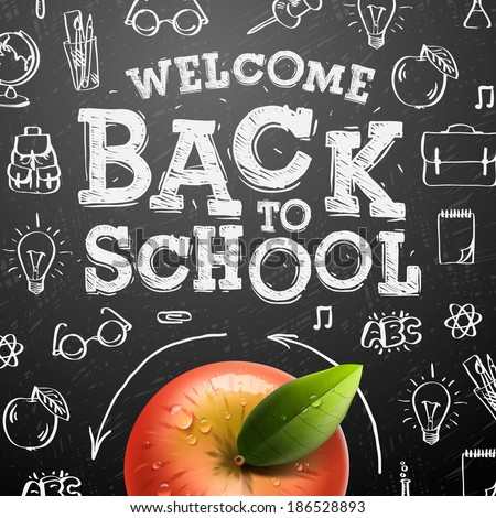 Welcome back to school sale background with red apple, vector illustration.  - stock vector