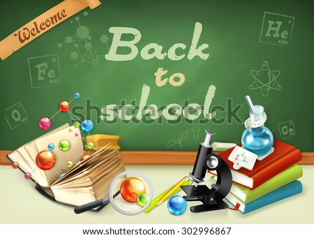 Welcome back to school. Studying and teaching, research and knowledge, vector illustrations on the green chalkboard - stock vector